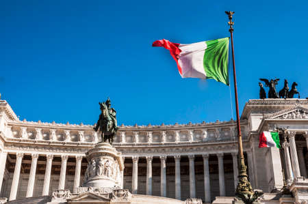 altar of fatherland: italian flag and detail of the Fatherland Altar in Rome