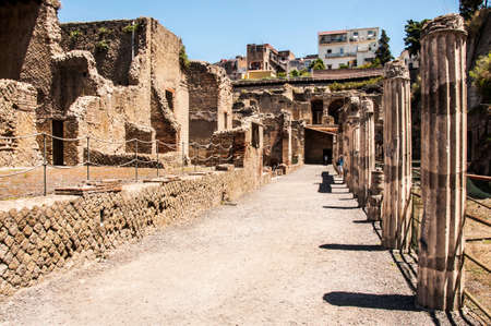 an excavation: view of the excavation Herculaneum, Naples, Italy Stock Photo