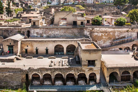 archaeologists: view of the excavation Herculaneum, Naples, Italy Stock Photo
