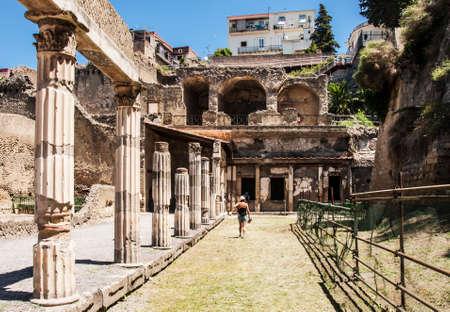 view of the excavation Herculaneum, Naples, Italy Banco de Imagens
