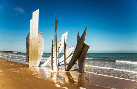 the memorial on Omaha Beach in Normandy, France Stock Photo - 39160154