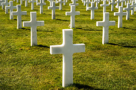 omaha: Crosses on American cemetery near Omaha Beach in Colleville sur Mer Normandy France