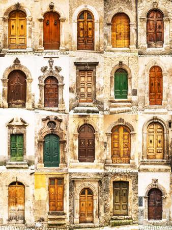 puertas antiguas: grupo de puertas antiguas italianas Foto de archivo