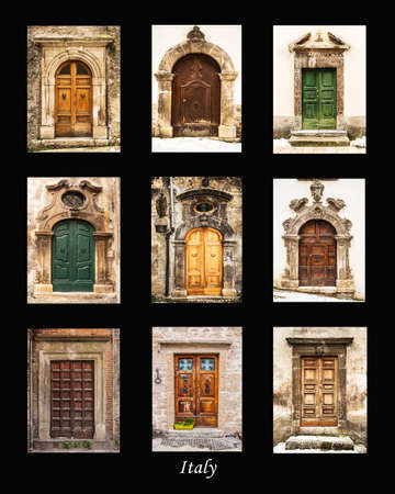puertas viejas: grupo de puertas antiguas italianas Foto de archivo