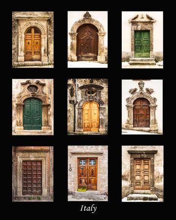 puertas antiguas grupo de puertas antiguas italianas foto de archivo