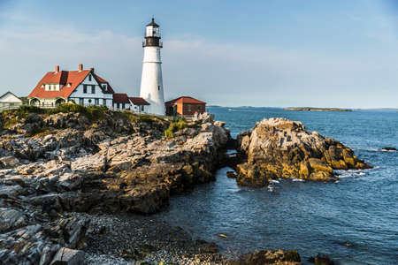 View of the Portland Head Lighthouse in Maine, USA Archivio Fotografico