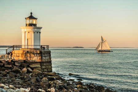 famous South Portland Bug Light in Maine, USA
