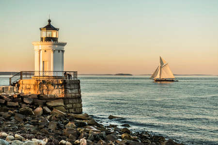 lighthouses: famous South Portland Bug Light in Maine, USA