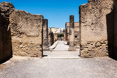 an excavation: view of the Herculaneum excavation, Naples, Italy Stock Photo
