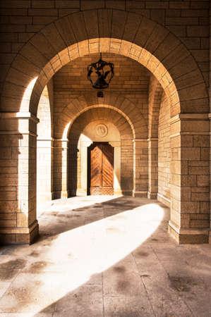 portico: ancient covered Portico in San Marino Republic