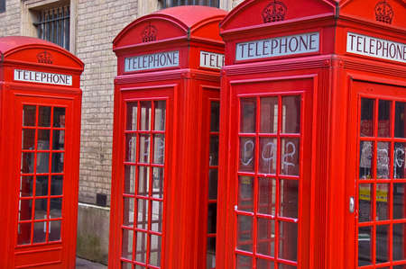 phonebox: typical British phone boots in a street in London, UK