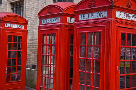 phonebooth: typical British phone boots in a street in London, UK