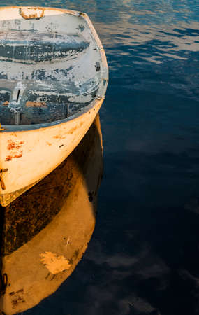 oceanic: a small boat on the oceanic coast in Maine, USA Stock Photo