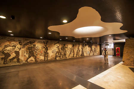 mentioned: NAPLES - SEPTEMBER 21: view of Toledo subway station on September 21, 2012 in Naples. the station, made by the spanish architect Tusquets, was open in september 2012 and it was Mentioned of one of the most beautiful underground station in Europe