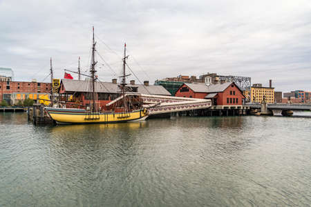 boston tea party: BOSTON - DECEMBER 13: The Boston Tea Party Museum on December 13, 2015, 2013. The museum was closed for eleven years after a fire, but reopened in June 2012.
