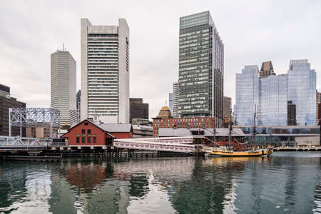 boston tea party: BOSTON - DECEMBER 13: Portrait of Downtown financial district on December 13, 2015 in Boston, MA USA