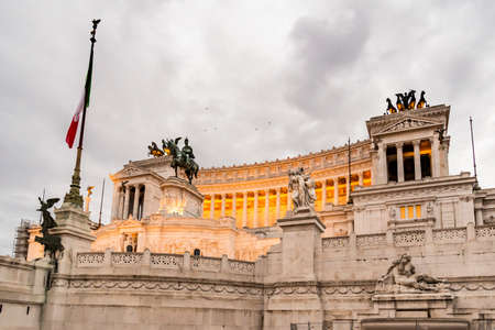 altar of fatherland: Emmanuel II monument and The Altare della Patria in a Fall night in Rome, Italy Editorial
