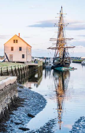 massachussets: old galeon and old harbor in Salem massachussets Usa