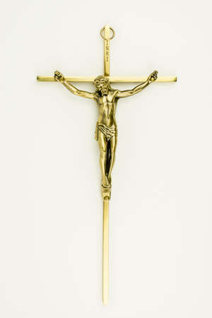 crucify: Jesus on the cross isolated on white