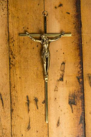 crucify: Jesus on the cross isolated on wood
