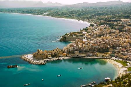 castellammare del golfo: view on Castellammare del Golfo in Sicily, italy Stock Photo