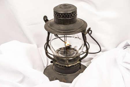 Old oil lantern isolated on white background Reklamní fotografie