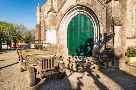 basse normandy: Church and america Jeep in Sainte Marie du Mont, Manche, Normandy, France