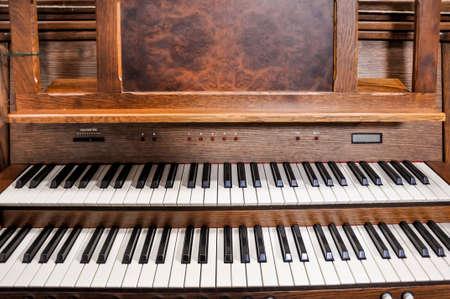 pipe organ: Close up view of a church pipe organ.