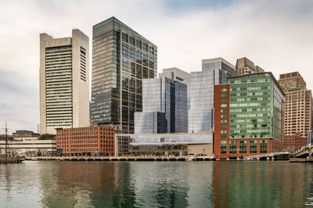 boston tea party: Portrait of Downtown financial district in Boston, MA USA