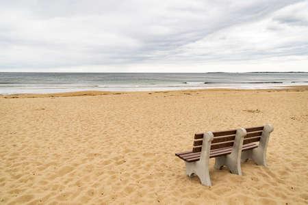 maine: Bench on ocean beach in Maine, USA