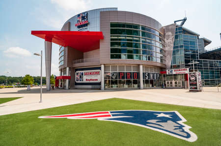 FOXBORO, MA - AUGUST 4: Gillette Stadium, home of the New England Patriots on August 4, 2012. It is located 21 miles southwest of Boston and 20 miles from Providence, Rhode Island. It can sit 68756.