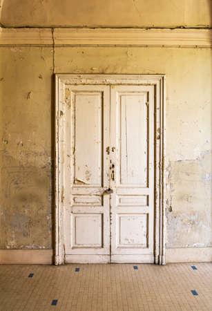 Italian door inside an Historical building in Naples, Italy