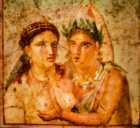Roman fresco from Pompeii houses, Archaeological Museum in Naples