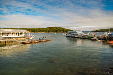 BAR HARBOR, ME - OCTOBER 02: Dockside lobster restaurant in historic Bar Harbor ME on October 02, 2016. Bar Harbor is a famous location in Down East Maine with a long history of lobstering. Editorial