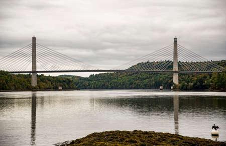 Penobscot Narrows Bridge in North of Maine, USA Stock Photo