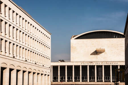 ROME - March 29: modern architecture in Eur district on March 29, 2014 in Rome, Italy Editorial