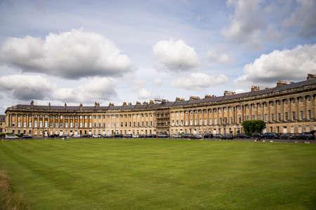 The Circus, famous circular Royal Crescent building in Bath, Somerset, England.