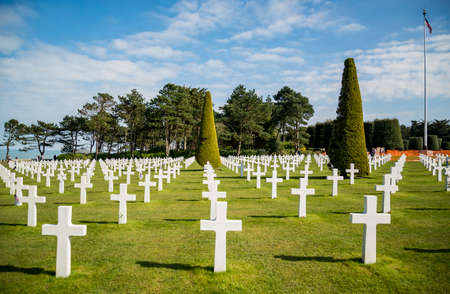 Crosses on american cemetery near Omaha Beach, in Colleville sur Mer, Normandy, France