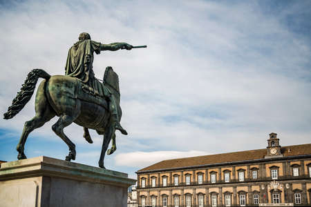 Equestrian Statue outside of the Royal palace of Naples, Italy