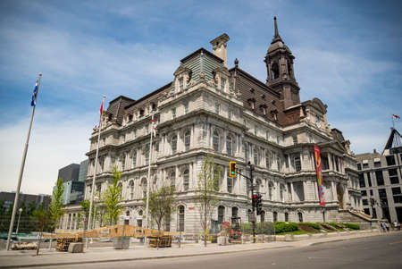 MONTREAL - May 28: Montreals city hall is one of the best examples of the Second Empire style on May 28, 2017 in Montreal Canada.