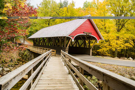 Covered bridge over Pemigewasset River at the Flume Gorge in Fanconia State Park, New Hampshire