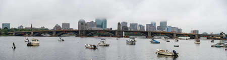Skyline of downtown Boston with the fog, MA USA Stock Photo