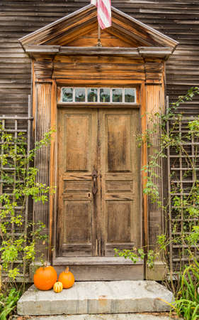 Door of a typical New England residential house with small entrance garden Stock Photo