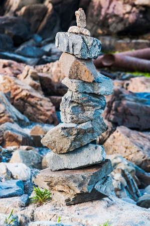 Piled up stones on the Maine coastline, Usa