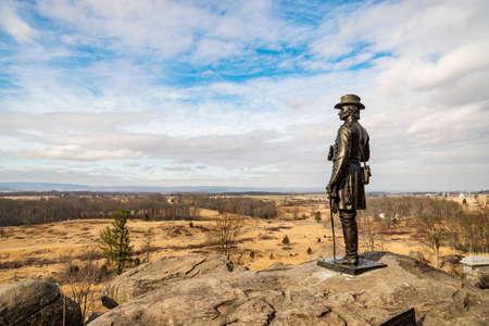 Little Round Top view of Devils Den in Gettysburg PA, USA