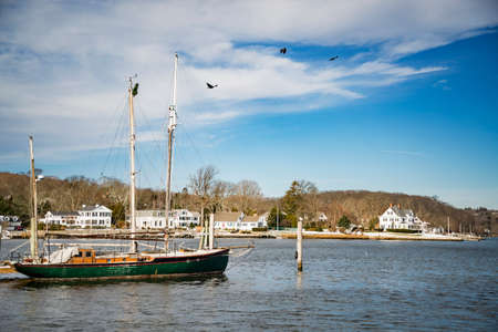 View of Mystic, Connecticut. The village is located on the Mystic River, which flows into Long Island Sound, providing access to the sea. Stock Photo