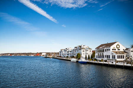 View of Mystic, Connecticut. The village is located on the Mystic River, which flows into Long Island Sound, providing access to the sea. 写真素材