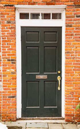 Merveilleux Door Of A Typical New England Residential House With Small Entrance Garden  Stock Photo   96875310