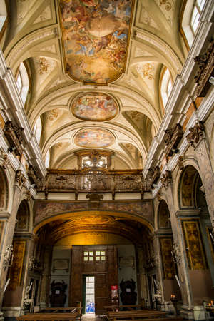 church of silk art, complex of the saints Filippo and Giacomo in Naples, Italy Editorial