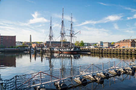 The historical USS Constitution boat anchored in the Boston harbor, MA.